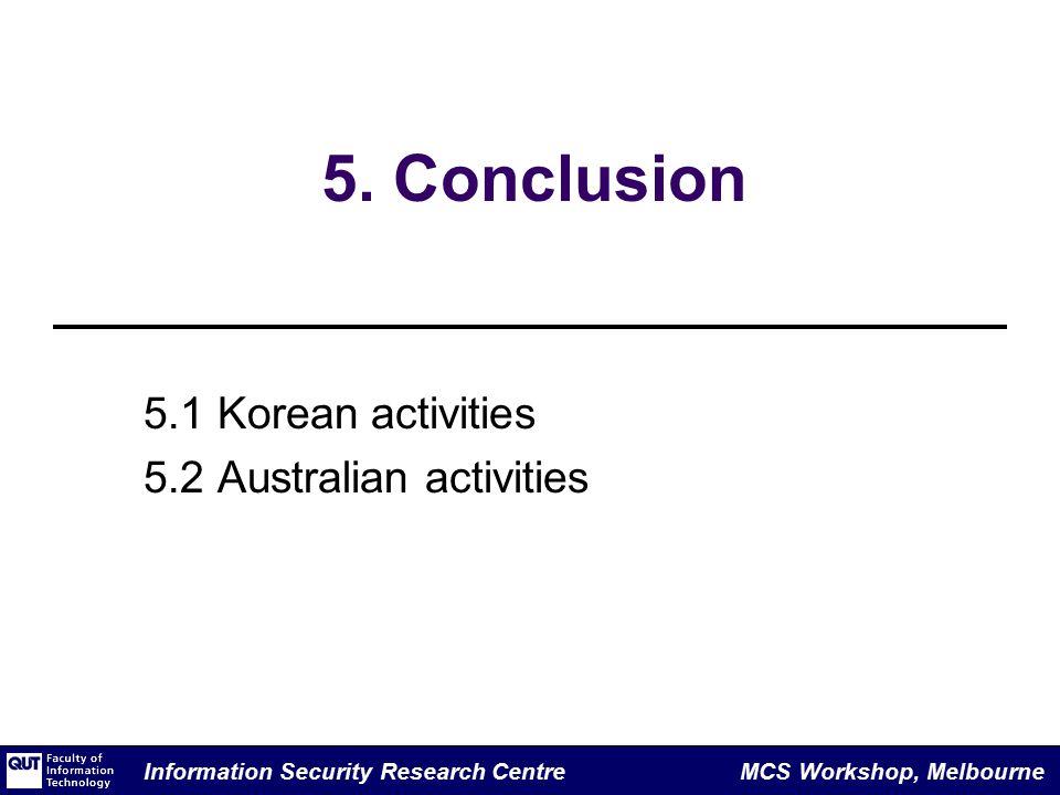 Information Security Research Centre MCS Workshop, Melbourne 5.