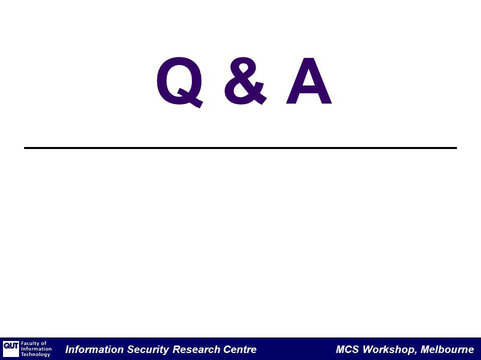 Information Security Research Centre MCS Workshop, Melbourne Q & A