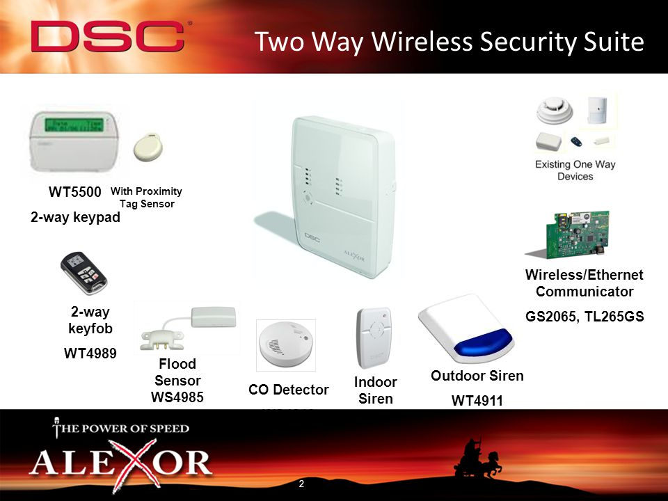 2-Way Wireless Security Suite WT4901 WT4901 – 2-way Wireless Indoor Siren Overview: The WT4901 is a fully supervised 2-way wireless indoor siren for the Alexor 2- way wireless security suite Specifications: Operating Temperature: -10 ºC to +55 ºC (14 ºF to 131 ºF) Batteries: (4) AA 1.5V Alkaline Battery Life: 2 years (typical usage) Low Battery Level: 5.6 V, pre-determined Alarm Signals – Output Level: 85dB @ 3m(high volume) Other Signals – Output Level: 65db @ 3m(medium volume) Wireless Range 300m (open air) 4 sirens per system (combination of indoor and outdoor)