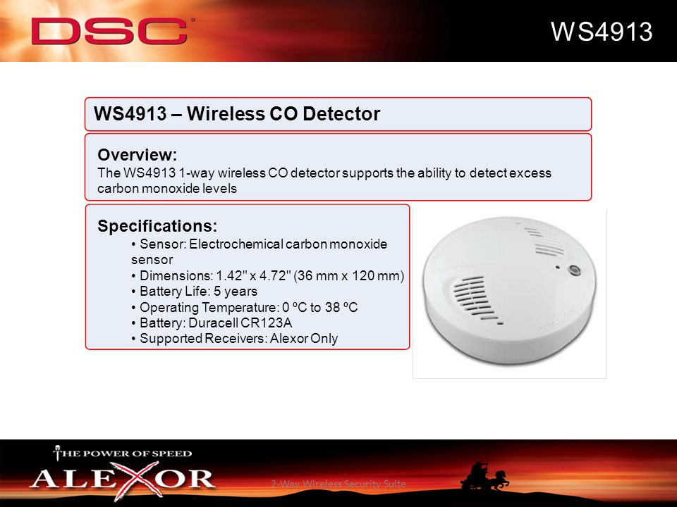 2-Way Wireless Security Suite WS4913 WS4913 – Wireless CO Detector Overview: The WS4913 1-way wireless CO detector supports the ability to detect exce