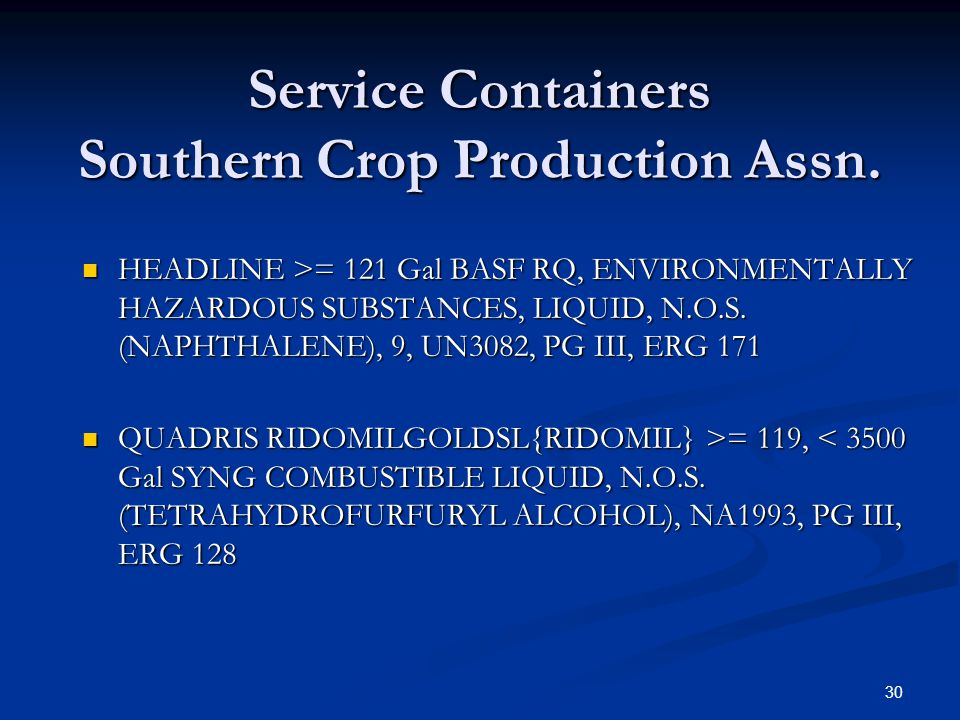 Service Containers Southern Crop Production Assn.