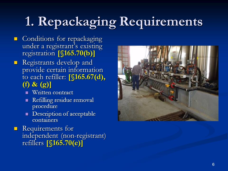 6 1. Repackaging Requirements Conditions for repackaging under a registrant's existing registration [§165.70(b)] Conditions for repackaging under a re