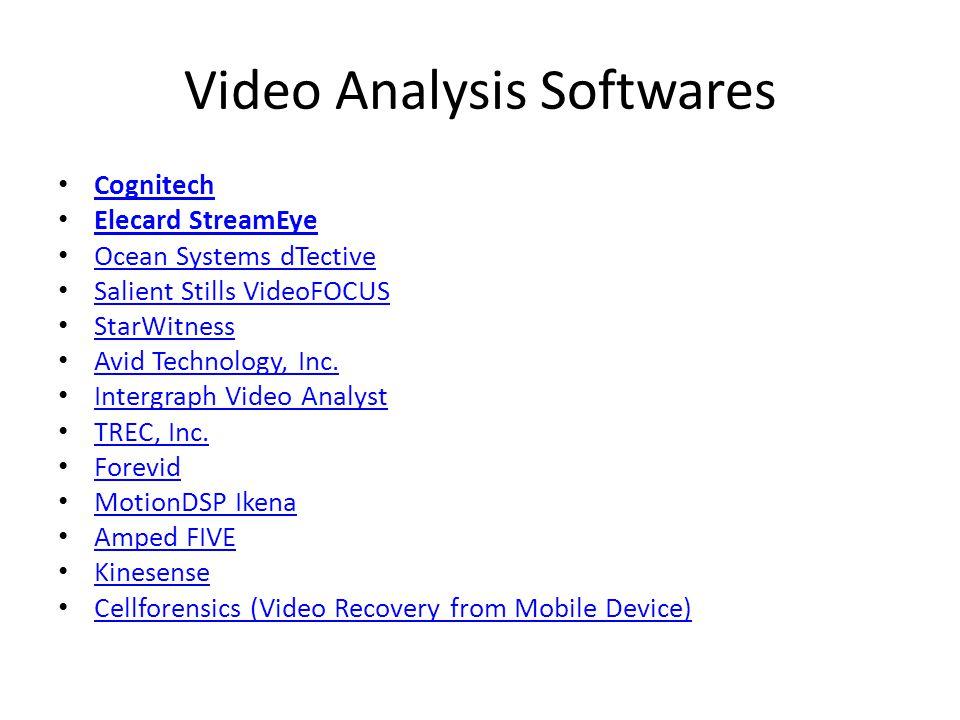 Video Analysis Softwares Cognitech Elecard StreamEye Ocean Systems dTective Salient Stills VideoFOCUS StarWitness Avid Technology, Inc.