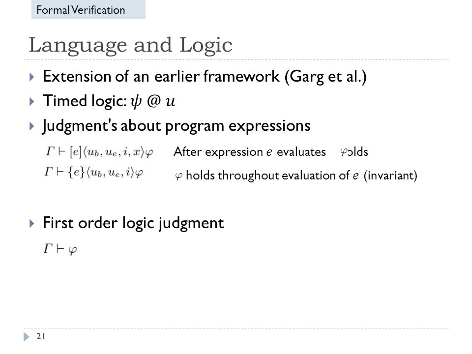 Language and Logic 21 Formal Verification