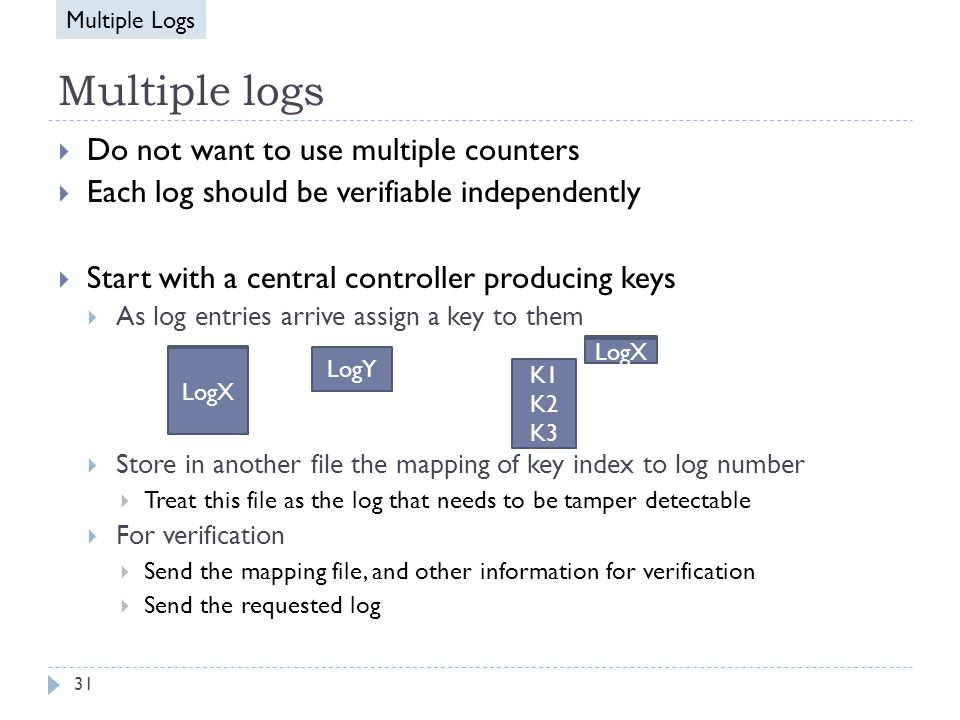 Multiple logs  Do not want to use multiple counters  Each log should be verifiable independently  Start with a central controller producing keys  As log entries arrive assign a key to them  Store in another file the mapping of key index to log number  Treat this file as the log that needs to be tamper detectable  For verification  Send the mapping file, and other information for verification  Send the requested log LogY K1 K2 K3 LogX LogY LogX Multiple Logs 31