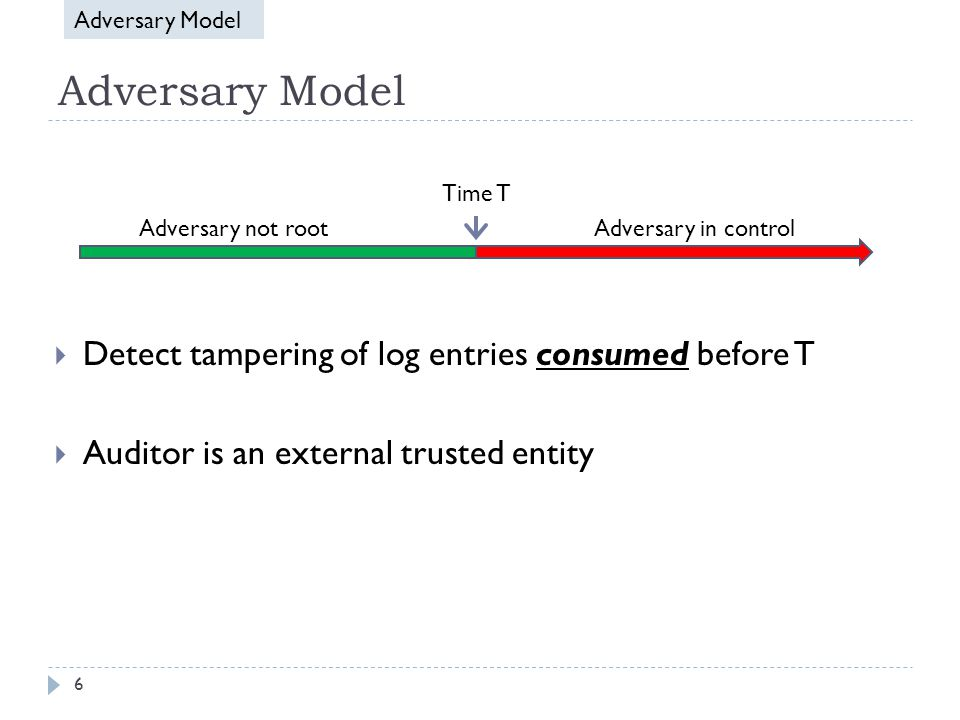 Adversary Model  Detect tampering of log entries consumed before T  Auditor is an external trusted entity Time T Adversary in controlAdversary not root Adversary Model 6