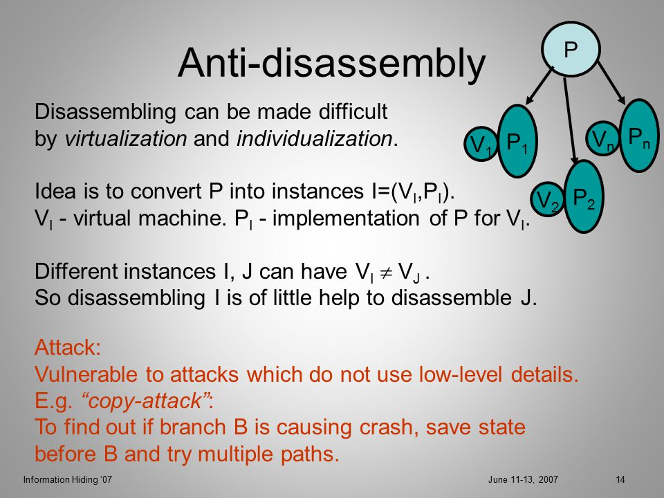 Information Hiding '07June 11-13, 200714 Anti-disassembly Attack: Vulnerable to attacks which do not use low-level details.