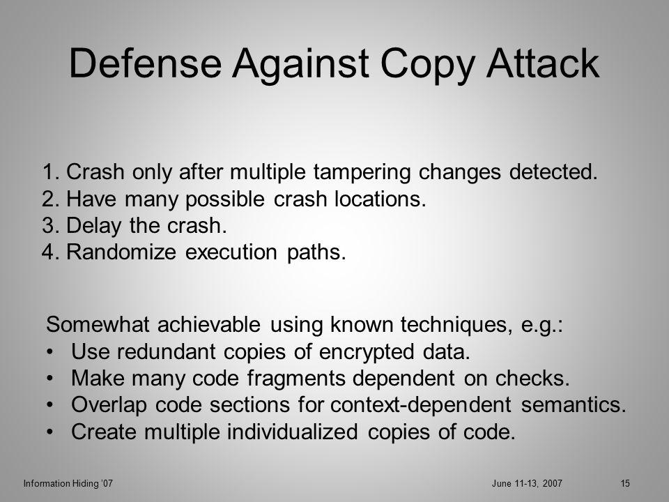 Information Hiding '07June 11-13, 200715 Defense Against Copy Attack 1.