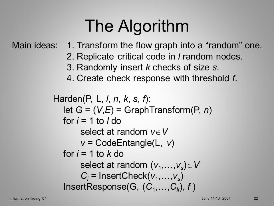 Information Hiding '07June 11-13, 200722 The Algorithm Harden(P, L, l, n, k, s, f): let G = (V,E) = GraphTransform(P, n) for i = 1 to l do select at random v  V v = CodeEntangle(L, v) for i = 1 to k do select at random (v 1,…,v s )  V C i = InsertCheck(v 1,…,v s ) InsertResponse(G, (C 1,…,C k ), f ) Main ideas: 1.