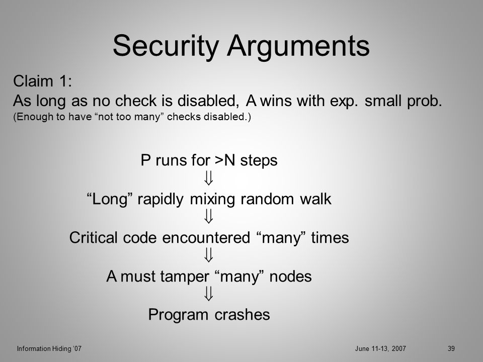 Information Hiding '07June 11-13, 200739 Security Arguments P runs for >N steps  Long rapidly mixing random walk  Critical code encountered many times  A must tamper many nodes  Program crashes Claim 1: As long as no check is disabled, A wins with exp.