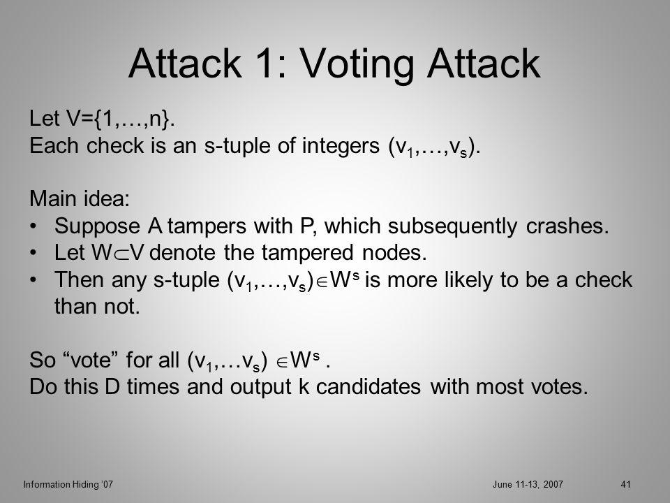 Information Hiding '07June 11-13, 200741 Attack 1: Voting Attack Let V={1,…,n}.