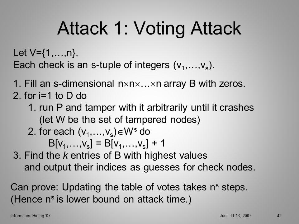 Information Hiding '07June 11-13, 200742 Attack 1: Voting Attack Let V={1,…,n}.