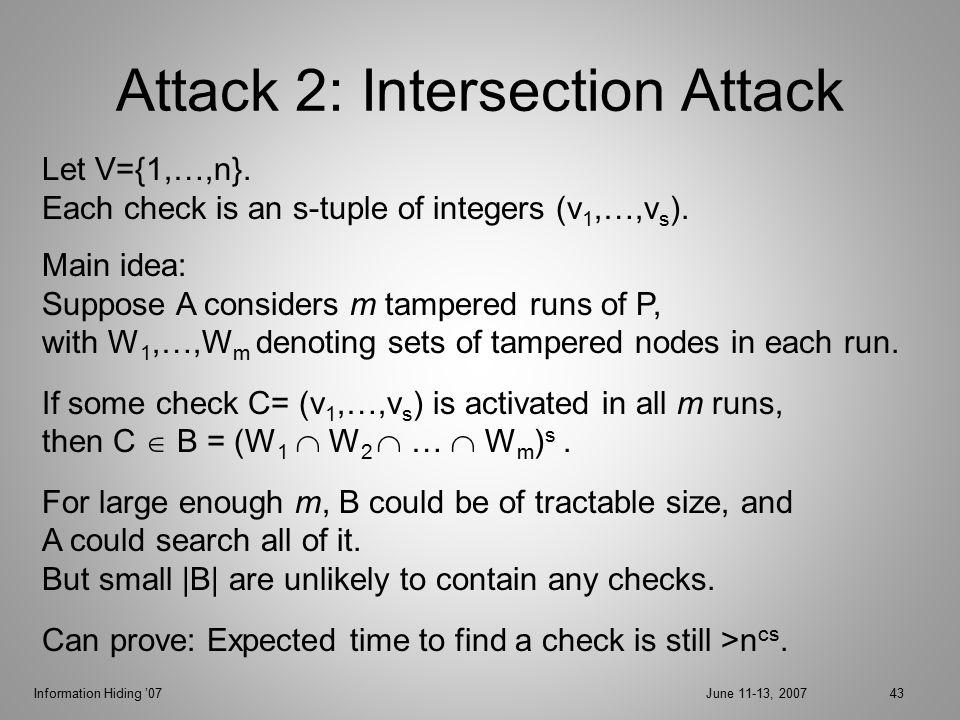 Information Hiding '07June 11-13, 200743 Attack 2: Intersection Attack Let V={1,…,n}.