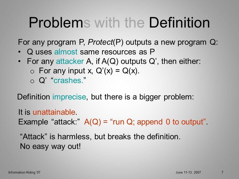 Information Hiding '07June 11-13, 200728 Attack Model Check = set of nodes.