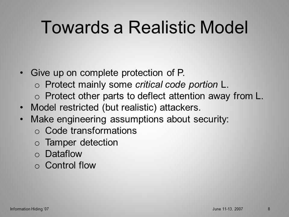 Information Hiding '07June 11-13, 200729 Attack Model Check = set of nodes.