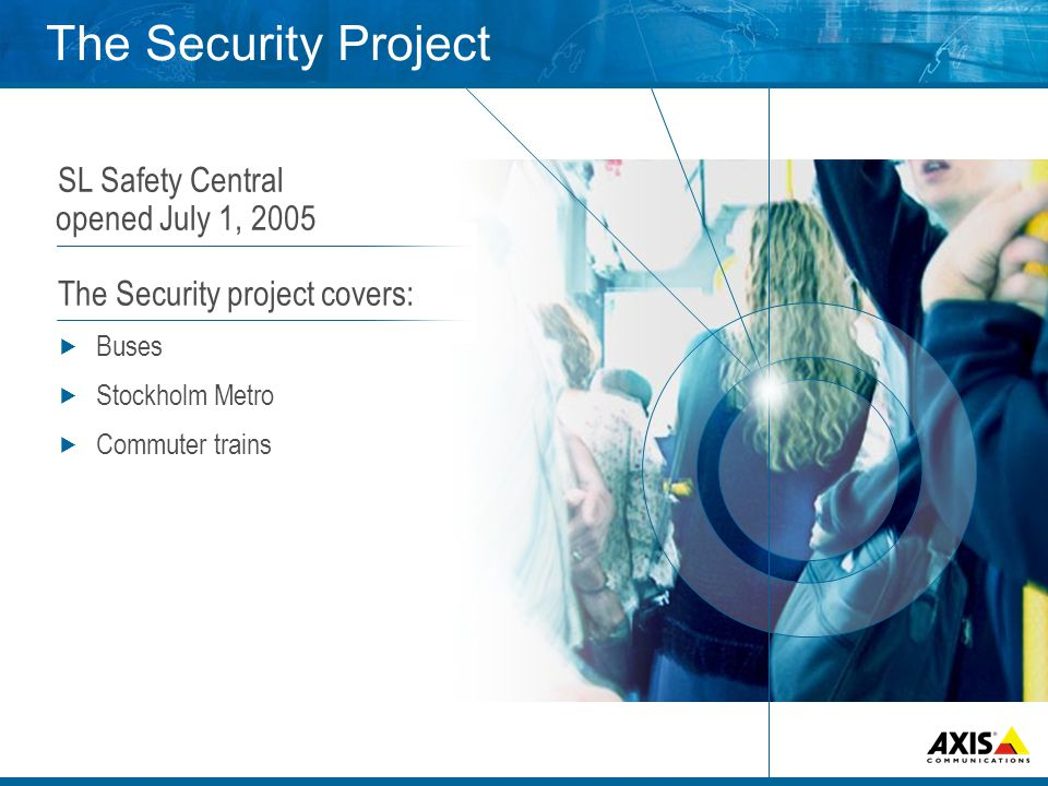 The Security Project SL Safety Central opened July 1, 2005 The Security project covers:  Buses  Stockholm Metro  Commuter trains