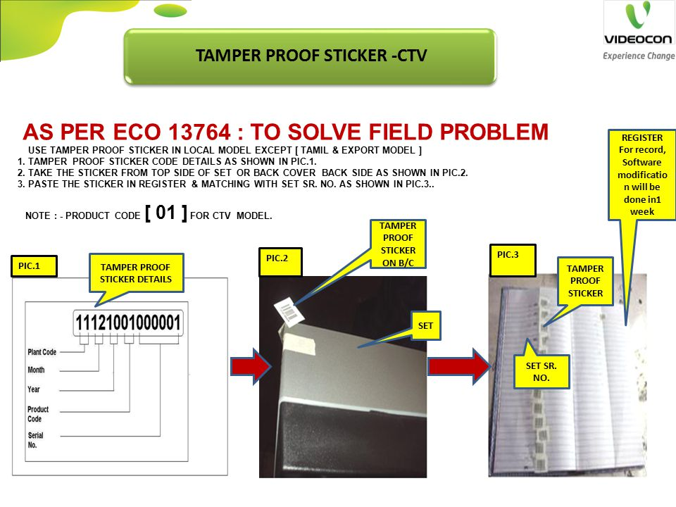 TAMPER PROOF STICKER -CTV TAMPER PROOF STICKER ON B/C SET REGISTER For record, Software modificatio n will be done in1 week PIC.1 TAMPER PROOF STICKER DETAILS TAMPER PROOF STICKER SET SR.