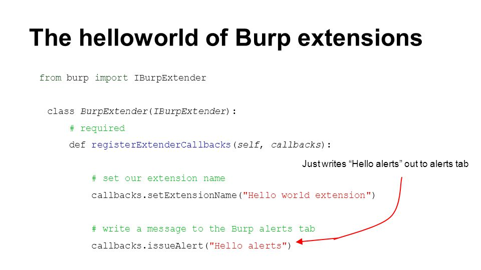 The helloworld of Burp extensions from burp import IBurpExtender class BurpExtender(IBurpExtender): # required def registerExtenderCallbacks(self, callbacks): # set our extension name callbacks.setExtensionName( Hello world extension ) # write a message to the Burp alerts tab callbacks.issueAlert( Hello alerts ) Just writes Hello alerts out to alerts tab