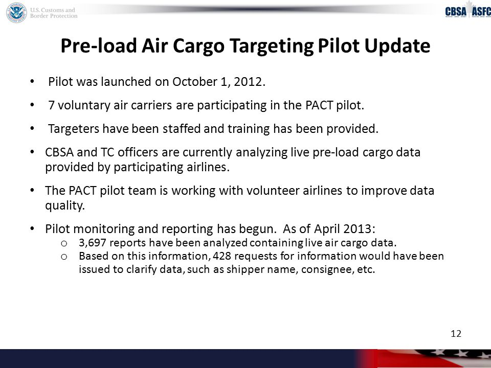 Pre-load Air Cargo Targeting Pilot Update Pilot was launched on October 1, 2012.