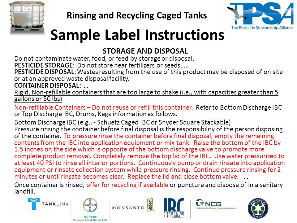 Sample Label Instructions STORAGE AND DISPOSAL Do not contaminate water, food, or feed by storage or disposal.