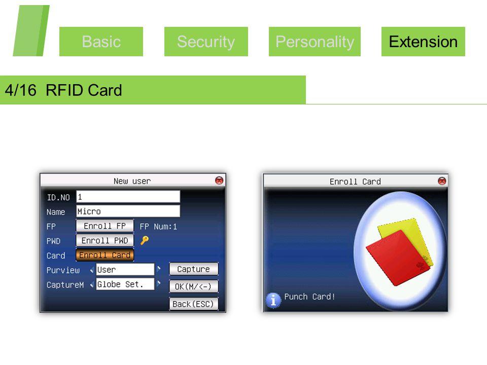 BasicSecurityPersonalityExtension 4/16 RFID Card