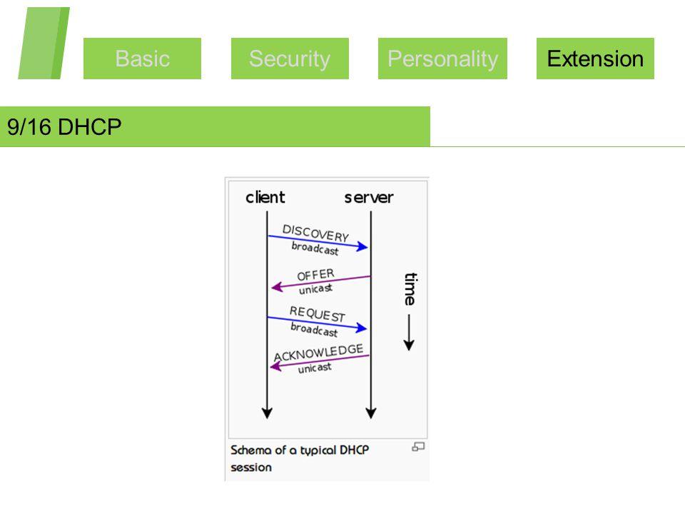 BasicSecurityPersonalityExtension 9/16 DHCP
