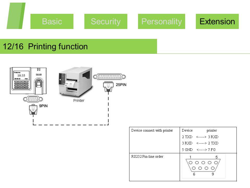 BasicSecurityPersonalityExtension 12/16 Printing function