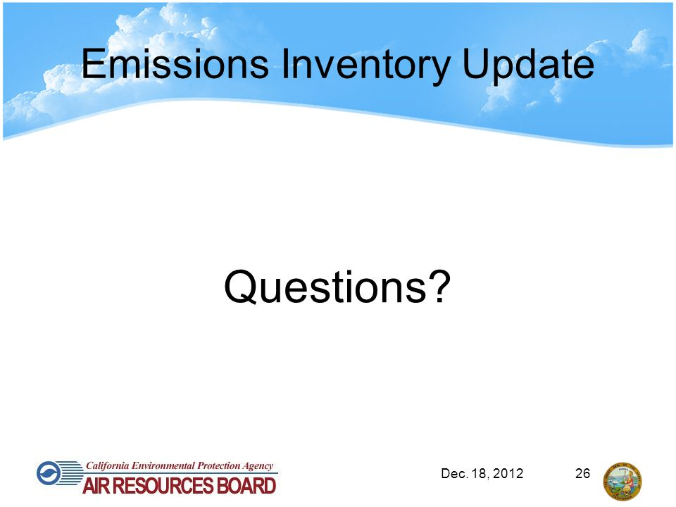 Emissions Inventory Update Questions? Dec. 18, 201226