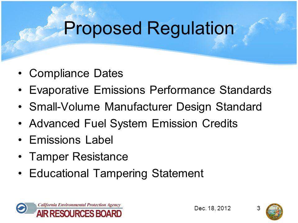 Proposed Regulation Compliance Dates Evaporative Emissions Performance Standards Small-Volume Manufacturer Design Standard Advanced Fuel System Emission Credits Emissions Label Tamper Resistance Educational Tampering Statement Dec.