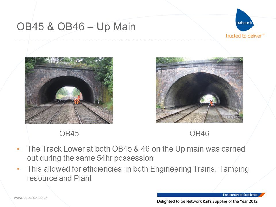 OB45 & OB46 – Up Main OB45OB46 The Track Lower at both OB45 & 46 on the Up main was carried out during the same 54hr possession This allowed for efficiencies in both Engineering Trains, Tamping resource and Plant