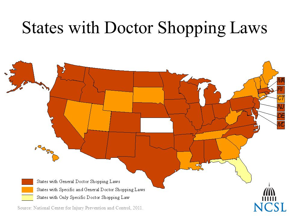 States with Doctor Shopping Laws Source: National Center for Injury Prevention and Control, 2011.
