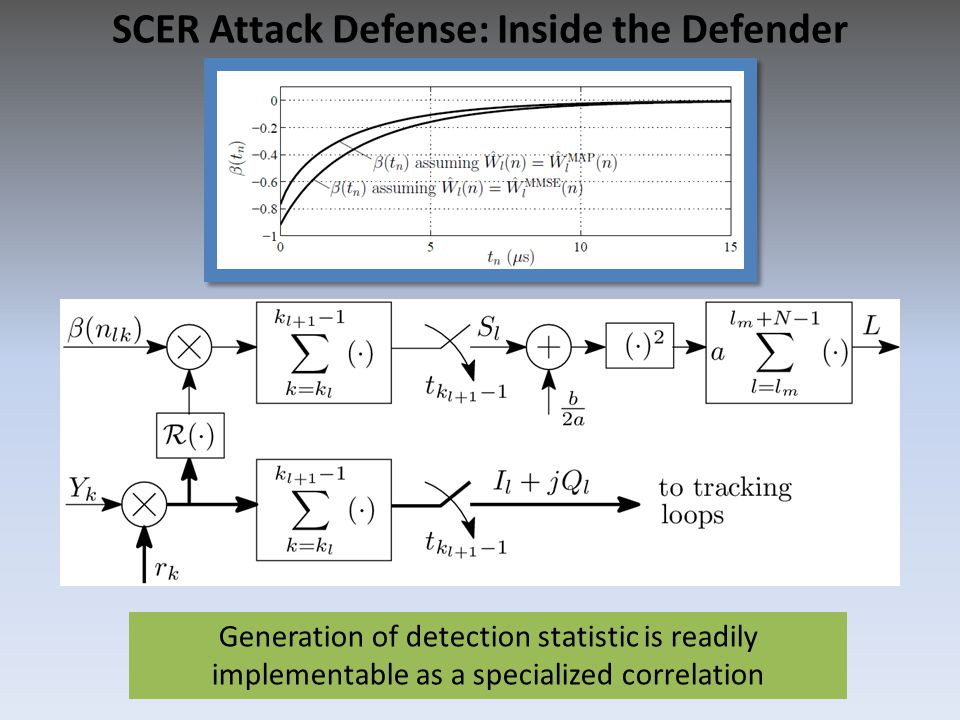 Generation of detection statistic is readily implementable as a specialized correlation SCER Attack Defense: Inside the Defender