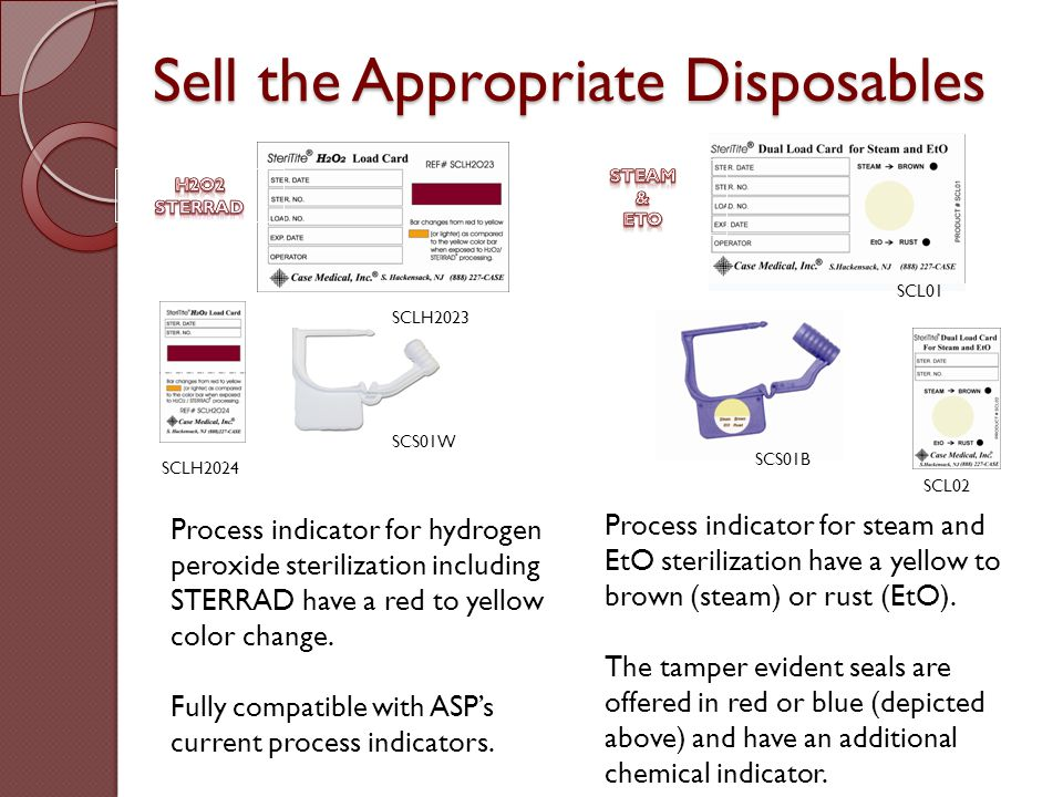Sell the Appropriate Disposables Process indicator for hydrogen peroxide sterilization including STERRAD have a red to yellow color change. Fully comp