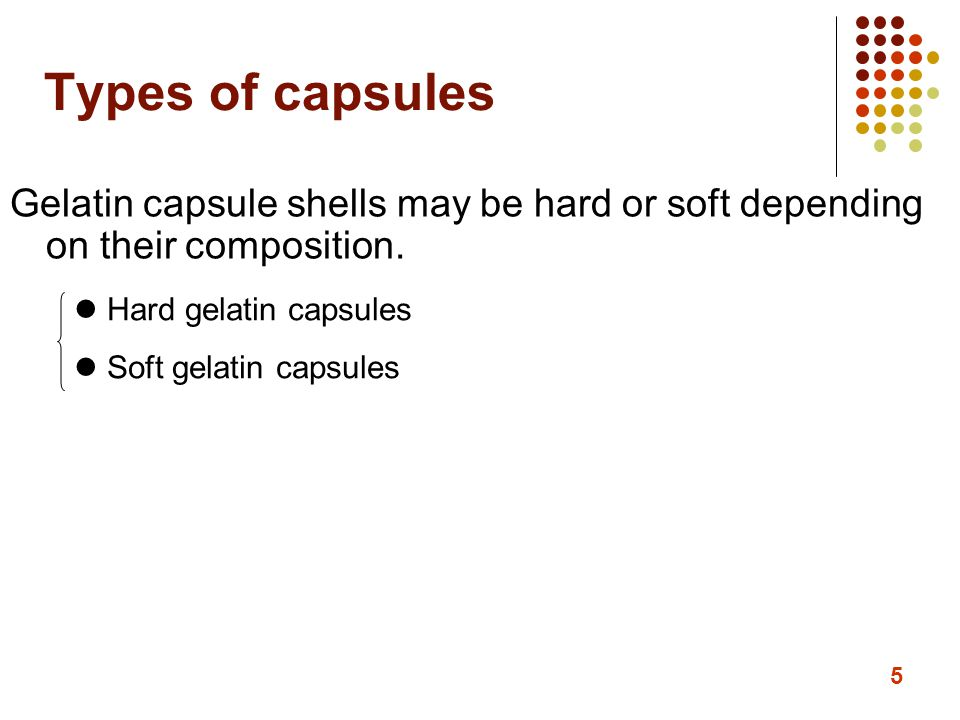 46 Compendial requirements for capsules Other requirements: 1) content labeling: the quantity of each active ingredient 2) stability testing method: long-term stability testing, accelerated stability test aim: storage condition, shelf life 3) moisture permeation test: unit dose container