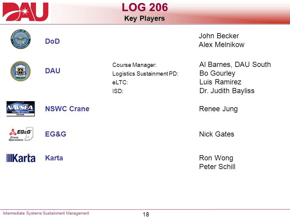 18 Intermediate Systems Sustainment Management LOG 206 Key Players DAU DoD NSWC Crane EG&G Karta Course Manager: Al Barnes, DAU South Logistics Sustainment PD: Bo Gourley eLTC: Luis Ramirez ISD: Dr.