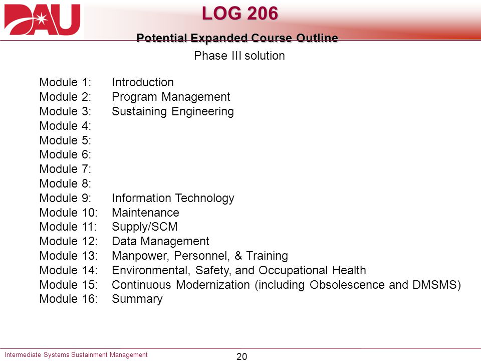 20 LOG 206 Potential Expanded Course Outline Intermediate Systems Sustainment Management Module 1:Introduction Module 2:Program Management Module 3:Su