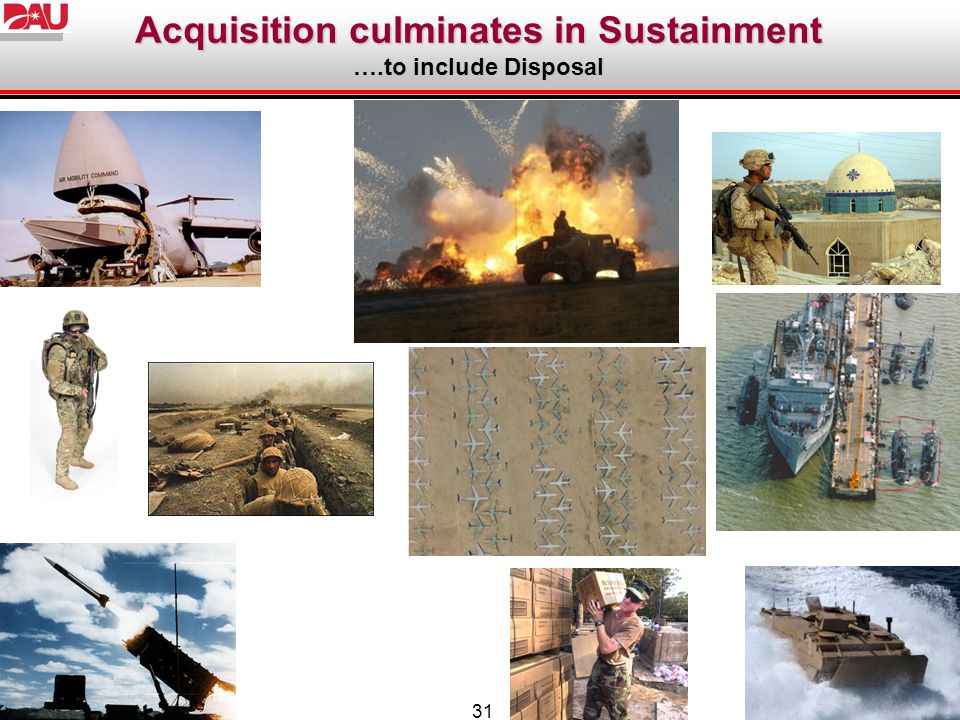 31 Acquisition culminates in Sustainment ….to include Disposal