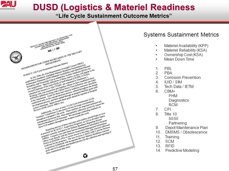 57 Systems Sustainment Metrics Materiel Availability (KPP) Materiel Reliability (KSA) Ownership Cost (KSA) Mean Down Time 1.PBL 2.PBA 3.