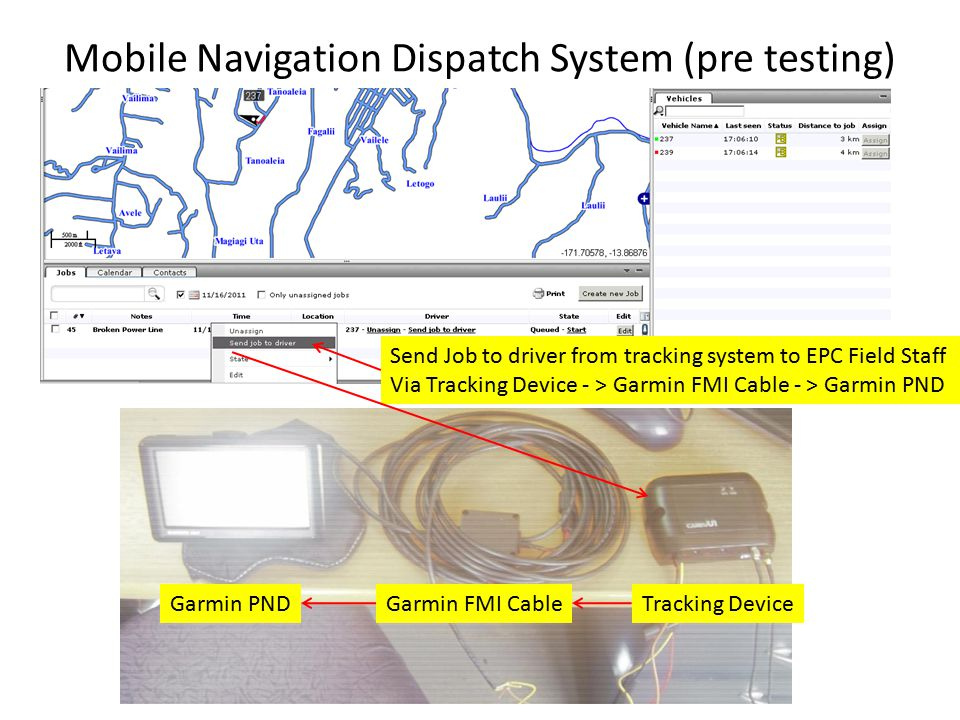 Mobile Navigation Dispatch System (pre testing) Garmin PNDGarmin FMI CableTracking Device Send Job to driver from tracking system to EPC Field Staff Via Tracking Device - > Garmin FMI Cable - > Garmin PND