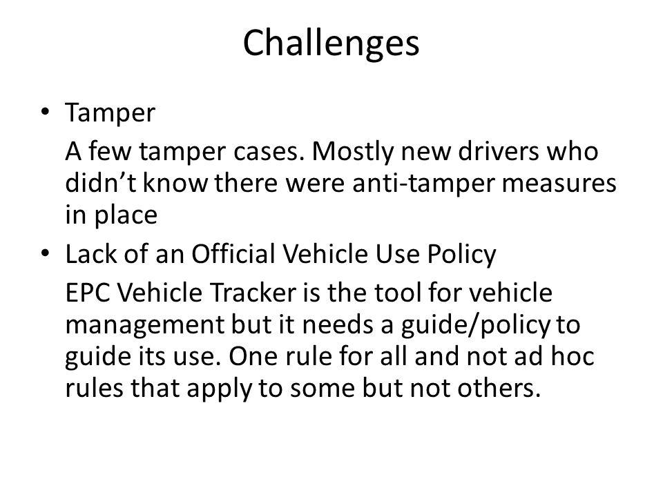 Challenges Tamper A few tamper cases.