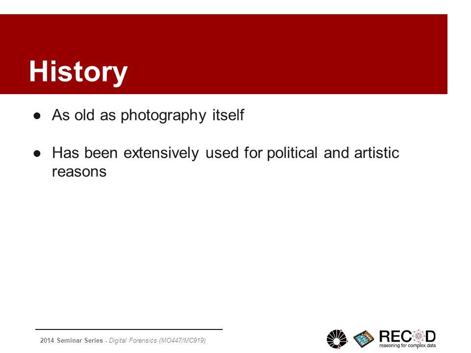 2014 Seminar Series - Digital Forensics (MO447/MC919) ~1930: Stalin had a commissar removed from the original photograph after the man fell out of favor with him.