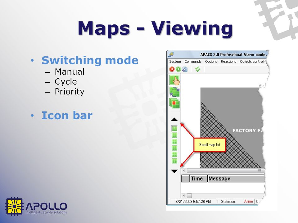 Maps - Viewing Switching mode – Manual – Cycle – Priority Icon bar