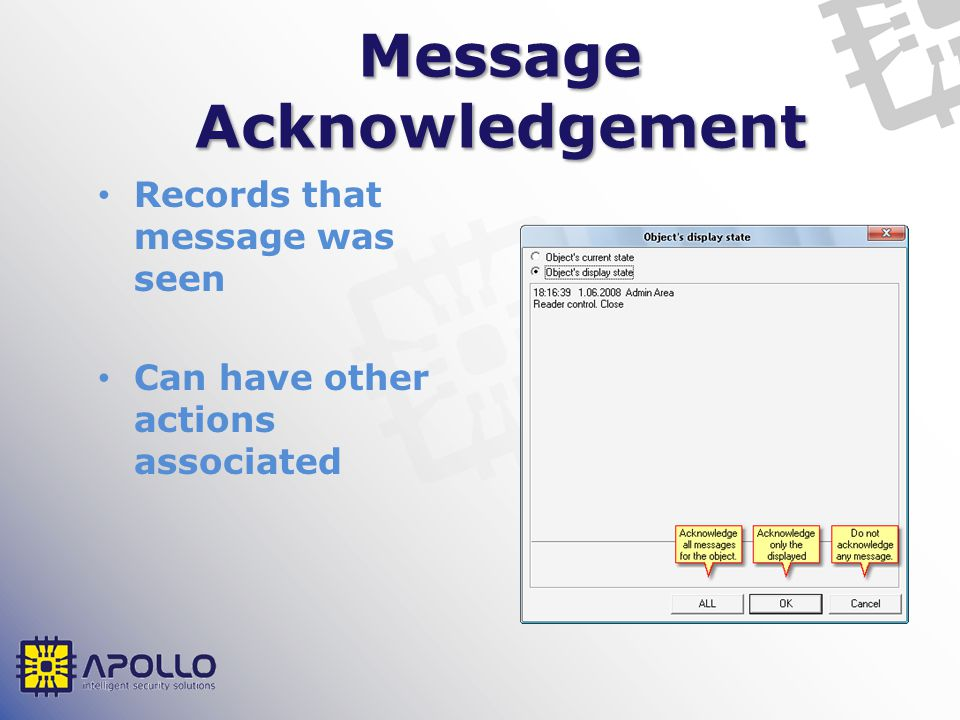 Message Acknowledgement Records that message was seen Can have other actions associated