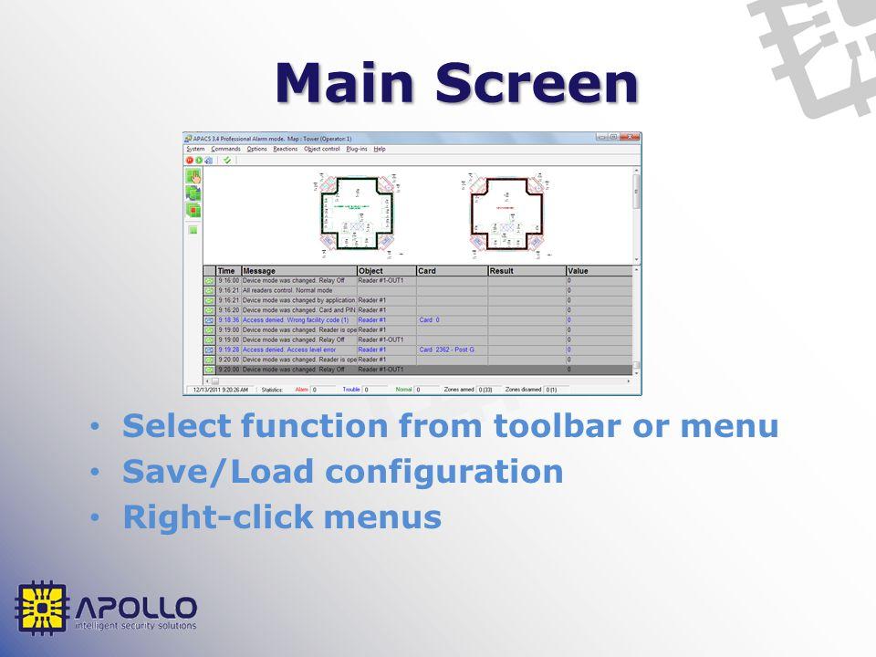 System Menu Loading configuration to hardware User logout/lock