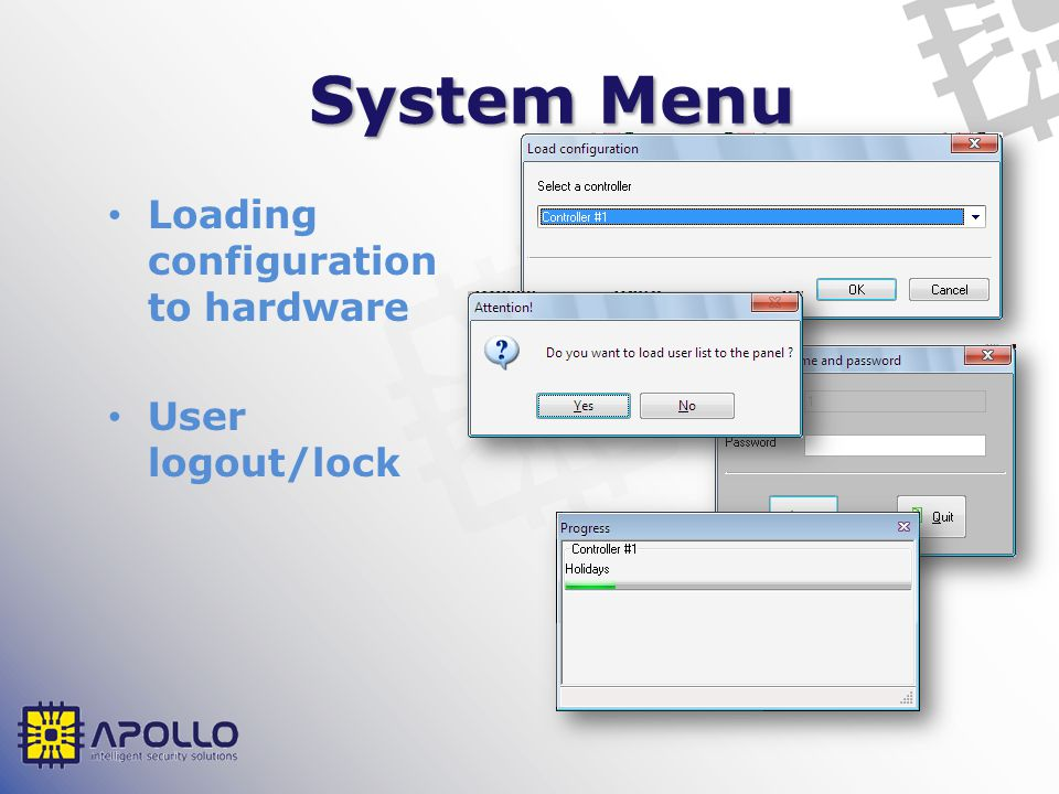 Commands Menu Global door mode change Cardholder location Reset APB Local video