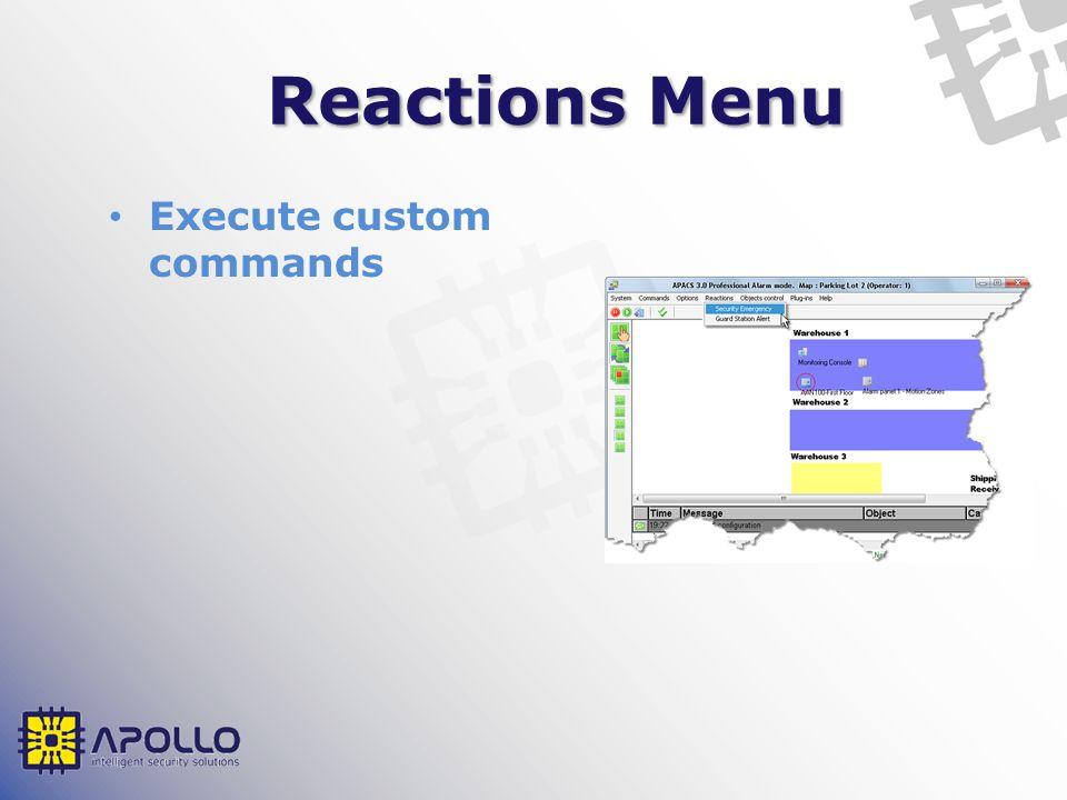 Reactions Menu Execute custom commands