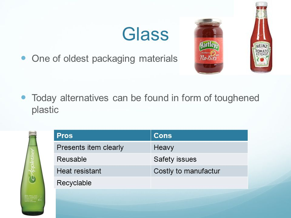 Glass One of oldest packaging materials Today alternatives can be found in form of toughened plastic ProsCons Presents item clearlyHeavy ReusableSafety issues Heat resistantCostly to manufactur Recyclable