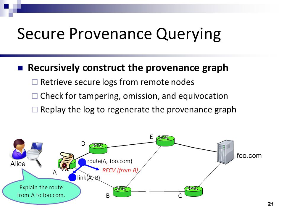 Secure Provenance Querying Recursively construct the provenance graph  Retrieve secure logs from remote nodes  Check for tampering, omission, and equivocation  Replay the log to regenerate the provenance graph 21 Alice foo.com A BC D E route(A, foo.com) link(A, B) Explain the route from A to foo.com.