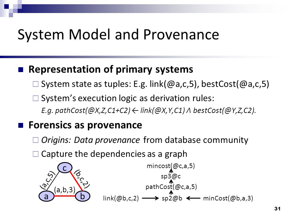 System Model and Provenance Representation of primary systems  System state as tuples: E.g.