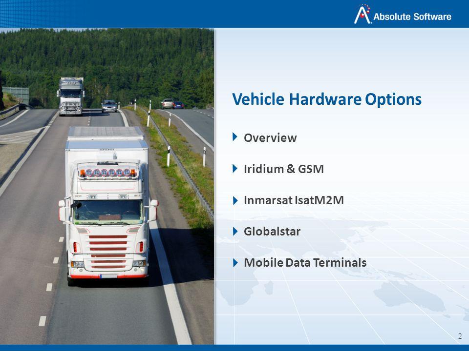 2 Overview Iridium & GSM Inmarsat IsatM2M Globalstar Mobile Data Terminals Vehicle Hardware Options